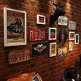 JXIANGK Photo Wall Combinazione Foto di Combinazione di Fotografia di Muro Retro Ristorante Targa fotogrammi industriali Vento Pittura Decorativa Foto Intercambiabile