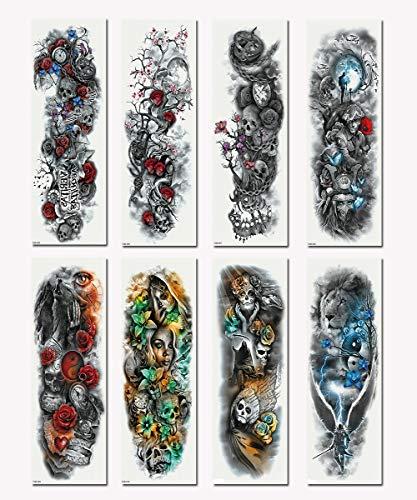 BITSW 8 Stück Mode Wasserdicht Entfernbar Hautfreundlich Lange Andauernd Realistisch Tätowierung Transfer Körperkunst Aufkleber Full Arm Temporäre Tattoos für Mann Frauen (H)