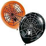 8 Halloween Luftballons Spinnweben schwarz orange