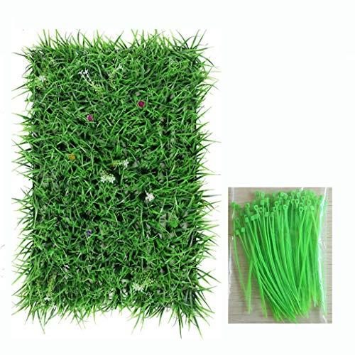SUNNAIYUAN Stück-künstliche Buchsbaum-Hecke-Platten, UV-geschützte Imitat-Grün-Matten im Freien oder Innendekoration, 60cm * 40cm (Color : with Flowering seedlings)