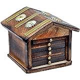 Crafticia Wooden Hut Miniature Tea Coaster Set Of 6 Plate Handmade Gift Item For Home Table Decor Showpiece - 4X4 INC