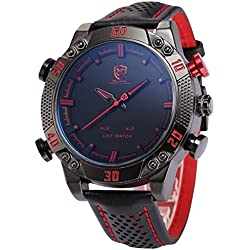 Shark Men's LED Date Day Alarm Digital Analog Quartz Sport Black Leather Band Wrist Watch SH261 Red