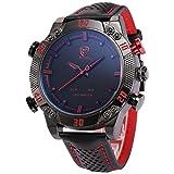 Shark-Mens-LED-Date-Day-Alarm-Digital-Analog-Quartz-Sport-Black-Leather-Band-Wrist-Watch-SH261-Red