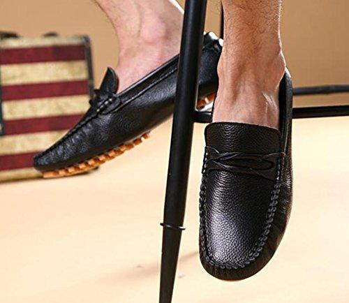 Mocassins Peep Toe Leather Slip-ons Basse Top Antidérapant Mode Confortable Soft Soles Leisure Casual Men's Shoes Taille de l'UE 39-44 Black