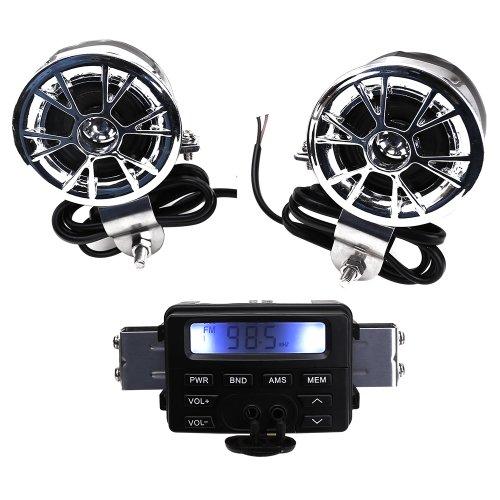 Stereo-system Scooter (12V ATV wasserdicht Motorrad Roller Audio System Lenker FM MP3 Stereo Audio Speaker Sound System AUX Eingang, 2 Lautsprecher für Harley Chopper Biker Cruiser Cafe Racer ATV)