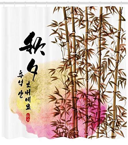 Abakuhaus Duschvorhang, Bambusmalerei mit Japanischen Wörtern im Mittleren Herbst Festival Künstlerische Arbeit Druck, Blickdicht aus Stoff inkl. 12 Ringe für Das Badezimmer Waschbar, 175 X 200 cm