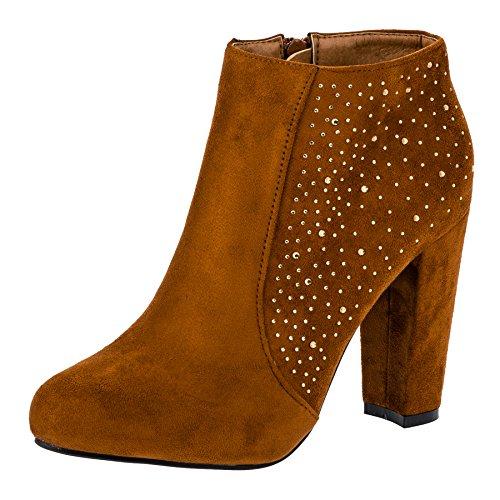 Roaqena Damen Stiefeletten High Heels mit Strass-Steinen Reißverschluss in Vielen Farben M219bn Braun 39