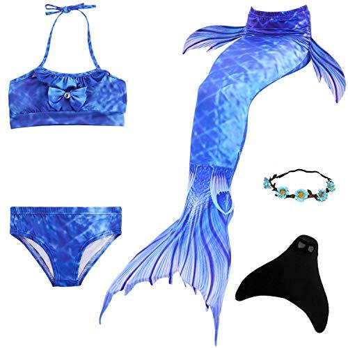 Yigoo Meerjungfrau Flosse zum Schwimmen Bikini Set mit Schwanz Monoflosse Prinzessin Kostüm Badeanzüge für Kinder Mädchen Blau 130 (Barbie Kostüm Kind)