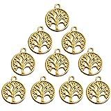 88d5f8b3c5d2 Gudotra 100 pz Pendentifs di Albero della Vita d oro Vintage Portachiavi  Ciondoli per Creazione
