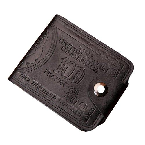 Unisex Kurz Clutch Goosun Männer Währung Grafik Bifold Geschäft Klein Vintage Leder Brieftasche Mit Vielen Kartenfächern Brieftasche Portemonnaie Geldbeutel Portmonee Pockets (1 Stück, Schwarz)