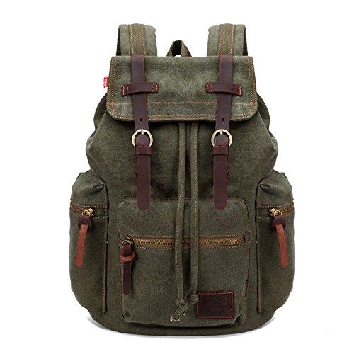 Imagen de fandare  de senderismo daypacks computadoras laptop  satchel bookbag alpinismo multi función vintage bolsa de tela verde alternativa