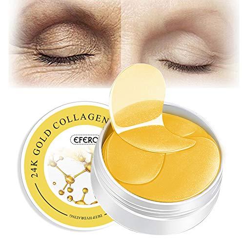 Fishyu 60 Pieces Gold Hydrogel Eye Firming Eye Mask Hydrating Fade Dark Circles Fine Lines Eye Mask - Soothing Eye Pads