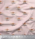 Soimoi Rosa Baumwoll-Voile Stoff Streifen & Känguru Tier