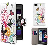 32nd� Designer Book Style PU Leather Wallet Case Cover for Blackberry Z10, Including Screen Protector - Colour Butterfly