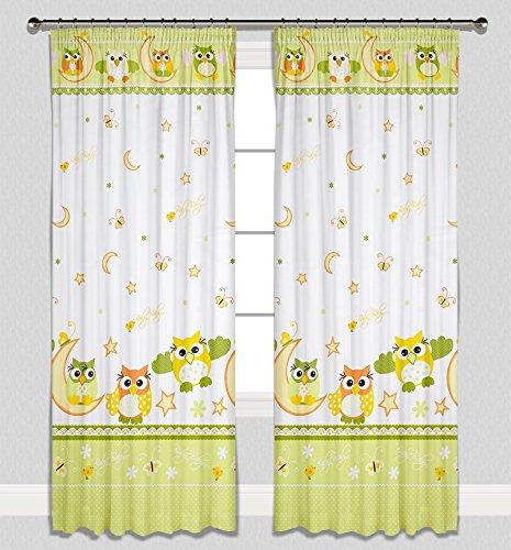 Kinder Vorhänge für Kinderzimmer 100% Baumwolle, 155 x 155 cm (grüne Eulen)