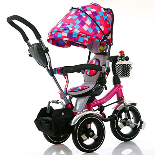 4-in-1 Kinder Dreirad Pfote Patrol, faltbare Trolley Fahrrad Kinder Push Trikes für Baby 3 Rad Fahrrad mit Eltern Griff und Anti-UV-Markise ( Farbe : Pink )