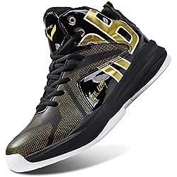 Zapatos de Baloncesto Hombre Alto para Ayudar a los Zapatos Deportivos Zapatillas para Niños(Gold-2,41 EU)