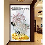 Y-Hui Modern living room hotel cut off the screen large fresco 3D stereo jade carved plum blossom aisle background wallpaper,200cmx140cm
