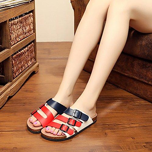 PENGFEI Mules Femme Chaussons de plage de Cork Lovers Pantoufles de mode d'été Amoureux Sandales plates pour garçons et filles Confortable et respirant ( Couleur : B , taille : EU38/UK5.5/L:240mm ) A