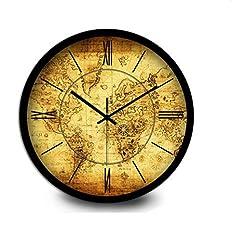 Idea Regalo - Wall Clock Orologio da parete creativo semplice vintage metallo tranquillo retrò orologio da parete orologio sveglia salotto cucina ristorante camera da letto muro orologio -12 pollici (30,5 cm) / 14 pollici (35,5 cm) , 35cm