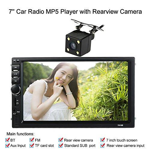 KKmoon Autoradio 7 Pouces 2 Din HD BT Stereo FM MP5 Multimedia Player ecran Tactile USB/AUX Entree AUX avec HD Camera de Marche Arriere Divertissement de Voiture