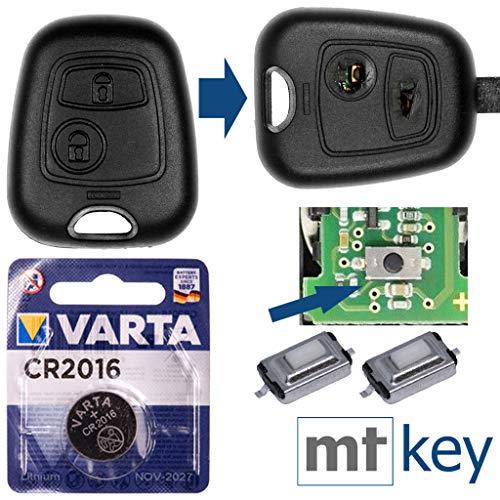 PEUGEOT Kit di riparazione Kit di riparazione Kit di riparazione custodia per cambio chiave auto con 2 pulsanti + pulsanti + batteria per Peugeot 107 207 307 406 406 308 Citroen C4 C1 C2 C3