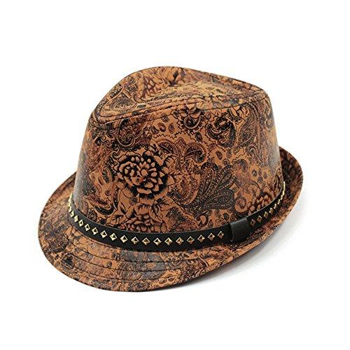 Unisex Britischen Retro Blumenmuster Crimp Fedora Trilby Hüte Jazzhut Gold (Hut Gold Fedora Herren)