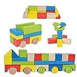 B&Julian  große Bauklötze Holz 75 teilig Natur bunt holzbausteine Kleinkindspielzeug für Baby Kinder ab 18 Monate