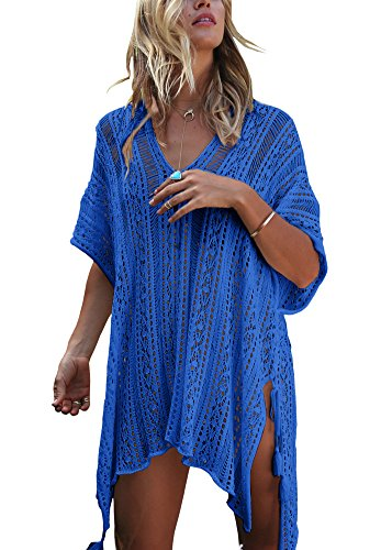 Häkel Bikini Badeanzug Bademode Cover up Beach Wear Tunika Kleid Royal Blau (Royal Blau Kostüme)