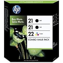 HP 21-22 - Pack de ahorro de 3 cartuchos de tinta Original HP 21 Negro , HP 22 Tricolor para HP DeskJet, HP OfficeJet, HP PSC, HP Fax