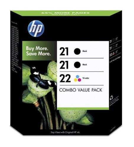 HP Nr.21, 21 + 22 Tintenpatronen Multipack, 2 x schwarz und dreifarbig