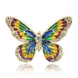 Yunfeng Damen Brosche Schmetterlings-Brosche Wilde Umwelt-Legierung mit Diamanten besetzte Dreidimensionale Öl-Brosche