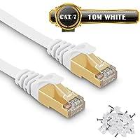 10m Câble Ethernet CAT7 Câble Réseau RJ45 10Gbps 750MHz STP Blindage Compatible Cat5/Cat5e/Cat6/Cat6a pour Routeur,Switch,TV Box,PC - 10 Mètres Blanc - avec des Cordon Clips