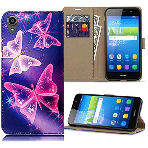 ProGadgetsLTD Schutzhülle für Huawei Y6 (2015), leicht, Hochwertiges PU-Leder, Brieftaschen-Design blau Butterfly On Blue (Designs Blue Butterfly)