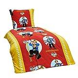 Dreamhome24 2 TLG Kinder Warme Kuschel Fleece Bettwäsche Einhorn Feuerwehrmann Pferd Pingin 135x200 80x80, Designe:Feuerwehrmann