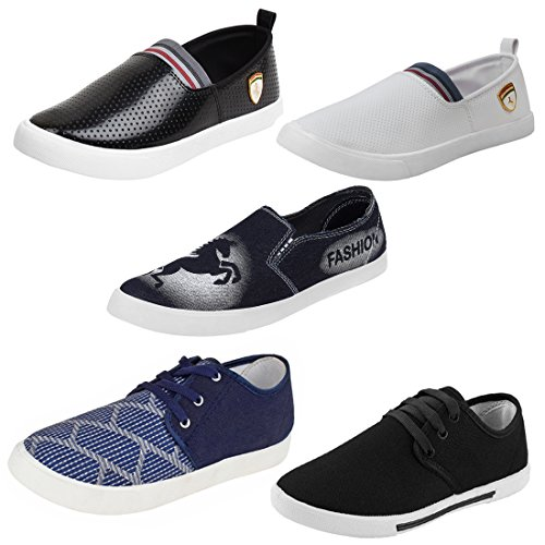 Earton Men Combo Pack of 5 Pair Casual Shoes Loafers with Sneakers...