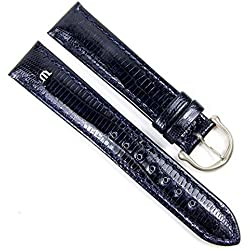 Maurice Lacroix Replacement Band Watch Band genuine Teju-lizard-Leather dark blue 21750S, width:14mm