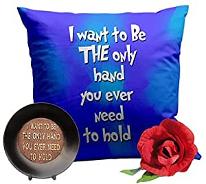 TiedRibbons® Valentine Day Special Gifts I Want To Be The Only Hand Combo (Cushion, Coffee Mug, Keyring,Greeting Card and Rose)