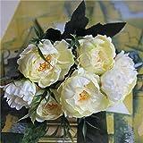 YABMF 1 Bouquet / 8 Têtes Joli Mariage Mini Rose Artificielle Fleurs De Soie Bouquet Flores Mariée Décoration De La Maison Pas Cher Faux Pivoine Fleur @ Lait Blanc