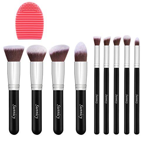 Pinceaux Maquillage Kit de 9pcs Pinceau Maquillage Yeux Blush Pinceau Poudre Fond de teint Anti-cerne (Poudres, Crèmes, Liquides) +Nettoyant pour pinceau maquillage