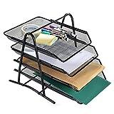 #7: DaKos 4 Tier Metal Office Desktop File and Document Organizer Trays, Magazine Holder Rack, Black