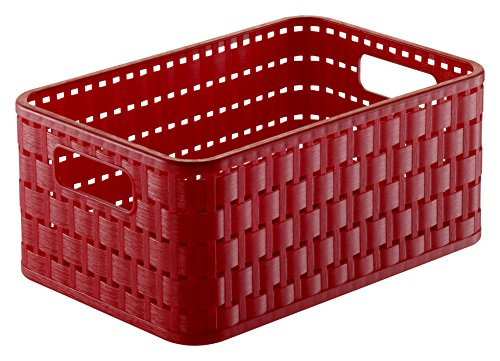 Rotho Country Aufbewahrungskorb 4 l in Rattan-Optik, Kunststoff (PP), rot, 4 Liter / A6 (23,7x15,8 x 10,8 cm) -