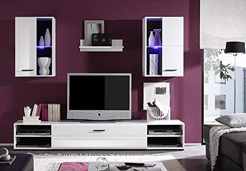 Wohnwand mit Glaselementen und LED - weiß