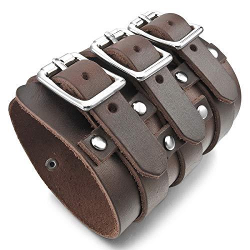 MunkiMix Metalllegierung Legierung Echtleder Armband Armreifen Manschette Silber Ton Braun Schwarz Einstellbar Verstellbaren Herren -
