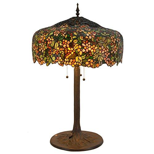 Bieye L30552 30 pollici Fiori di ciliegio Lampada da tavolo in vetro colorato Tiffany Style