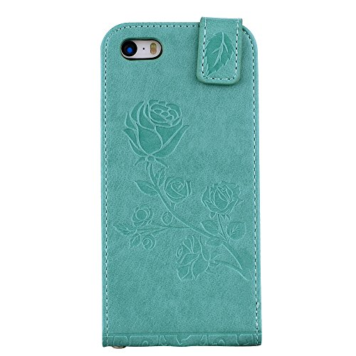 """MOONCASE iPhone 5/iPhone 5s/iPhone SE Coque, [Embossed Pattern] Card Holster Flip Housse Durable PU Cuir Anti-choc Supports Protection Etui Cases pour iPhone 5/iPhone 5s/iPhone SE 4.0"""" Rouge Vert"""