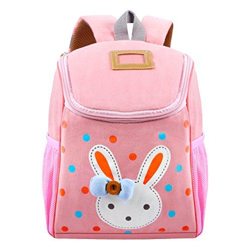 Vox Baumwolle Tier Hase Kleiner Kinderrucksack mit brustgurt Mädchen Babyrucksack Kindergartenrucksack Kindergartentasche für 1-7 Jahre Alte Baby Rosa
