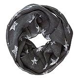 Soul-cats® Ein Kinder Loopschal Tuch kleine Sterne grau marine weiß, Farbe:dunkelgrau