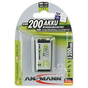 ANSMANN 5035342 maxE 9V Block 200mAh 1er Pack vorgeladener Akku geringe Selbstentladung