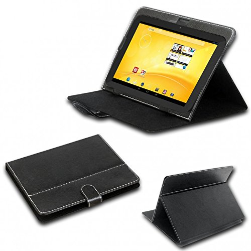 eFabrik Schutz Tasche für TrekStor Volks-Tablet 3G (VT10416-2) 10.1 Zoll Volks-Tablet 2 Hülle Case Cover Schutzhülle Schutztasche Stand-Funktion Leder-Optik schwarz